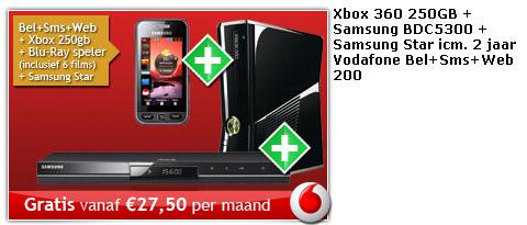Gratis Xbox 360, blu-ray speler en Samsung Star bij je abonnement