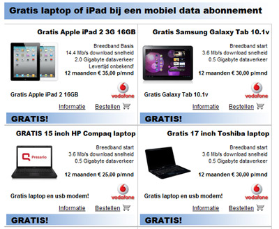 Gratis laptop of ipad
