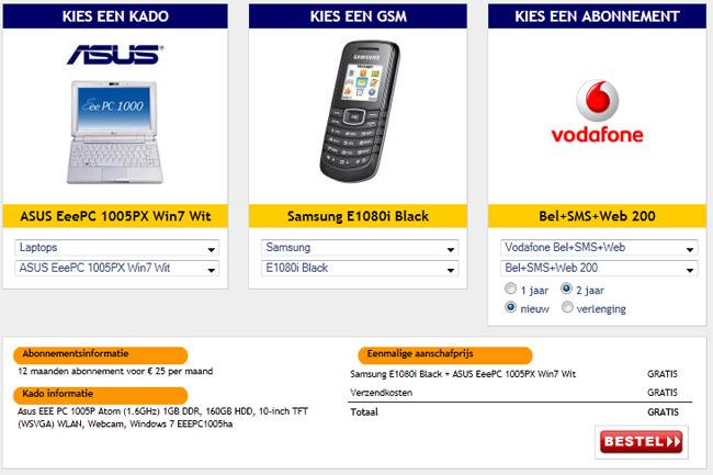 Kies een abonnement, telefoon en een kado